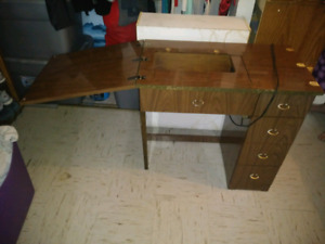 Older sewing machine AND table