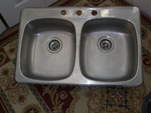 "double kitchen sink 31(29)""x 21(16)""xD7, Stainless Steel"