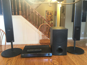 Sony stereo with tower speakers, sub and remote