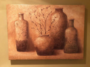 Tuscan wall art canvas picture, like new, reduced price to $25.