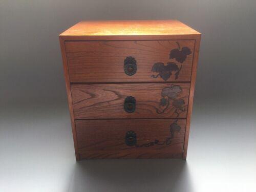 V0844 Japanese Wooden Drawer Box Vintage Hikidashi Storage Handle Interior