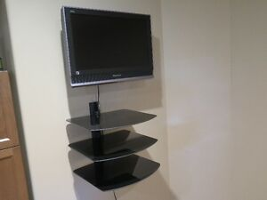 Panasonic Viera TV, wall mount, and wall glass shelves