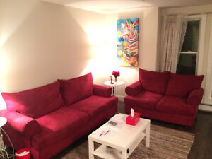 Red sofa and loveseat. Both for $495. Good deal!