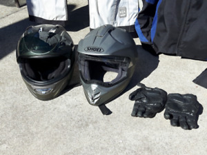 Older motorcycle helmets in good condition