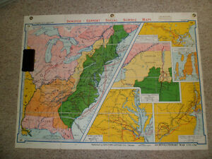 Set of Folding Wall Maps (American History) Kitchener / Waterloo Kitchener Area image 3