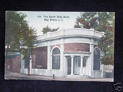 C 1910 South Side Bank Bay Shore Li Ny Post Card