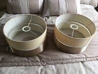 "Pair of Dunelm ceiling lampshades, 12"" diameter, taupe & gold coloured."
