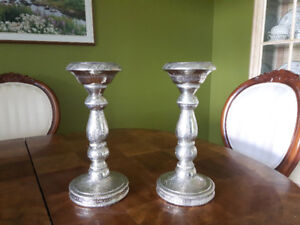 Two silver-look candle sticks hand made in India