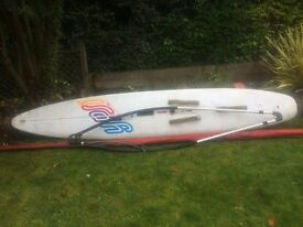 Winsurfing board boom, mast and two sails. Board has been sold