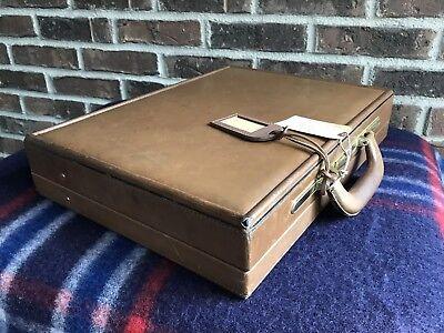 VINTAGE 1980's BRAZILIAN HARDSIDE WOOD BOX BELTING LEATHER BRIEFCASE BAG R$1098