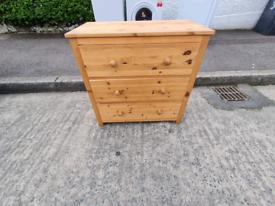 Honey pine wood chest of drawers £55 bedside locker £20