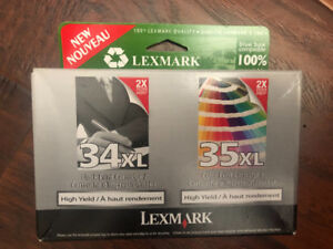 LEXMARK high yield inkjet cartridges 34 & 35