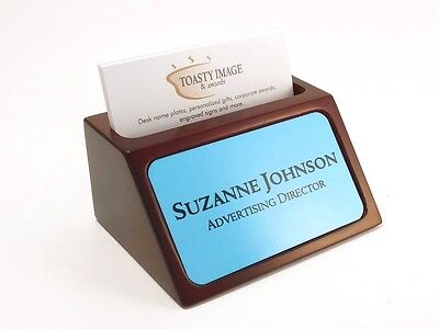 Personalized Business Card Holder For Desk Mahogany With Blue Aluminum Insert