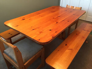 Solid pine trestle table, 2 benches, 2 chairs