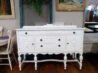 VINTAGE WHITE PAINTED SIDEBOARD > DRESSERS > TABLES ETC