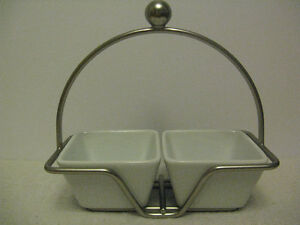 Pampered Chef Simple Additions Double Dip Server with Stand