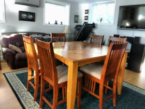 Table with six bar chairs