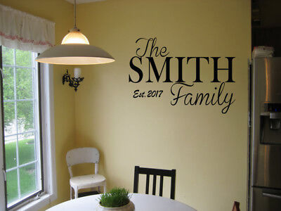 PERSONALIZED FAMILY NAME EST. VINYL WALL ART DECAL LETTERING  WORDS DECOR DIY (Decor Name Letters)