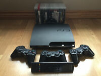 Sony PS3 Slim 120GB w/ 3 controllers, Remote & 18 Games! MINT!!