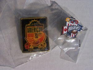 2- AMERICAN NFL BOWL rare SKYDOME Toronto Lape pins - new
