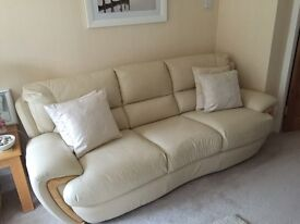 Stunning 3 piece suite, chair and footstool with storage in cream leather