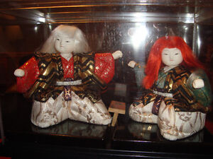 Pair of Red and White Kimekomi Lion Dancer Kabuki Dolls
