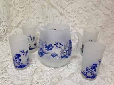 Vintage, Blue Willow 5-pc Set, Water,  Juice or Iced Tea Set (B)