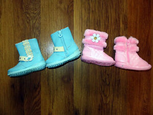 NEW two pairs of size 3-4 toddler boots