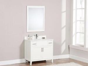 """37"""" Contemporary Shaker styled  Vanity in Walnut or Dove White finish, Come in 49 or 61"""" as well"""