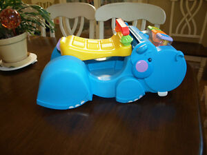 Fisher Price Gobble & Go Blue Hippo with BLOCKS