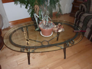 coffee and end tables wrought iron and glass