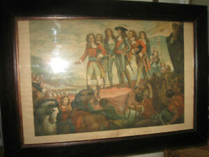 OLD ANTIQUE FRAMED PRINT..LANDING of WILLIAM III at TORBAY [1688