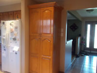 Custom made OAK pantry with 9 drawers $400
