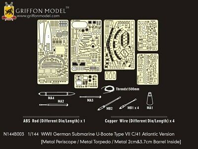 Griffon 1/144 WWII U-Boot Type VII C/41 Atlantic Ver Detail Set for Revell 05100