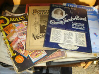 Collection of 1940 antique music book booklets and case LOT