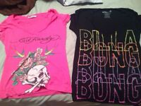 Size small billabong and Ed hardy t-shirts