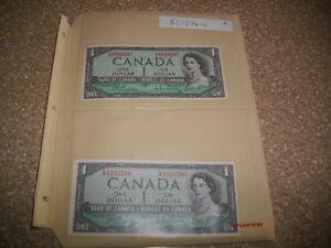 CANADA 1954 , 1973 , 1986 / 16  UNCIRCULATED $ 1 & $2 BANKNOTES