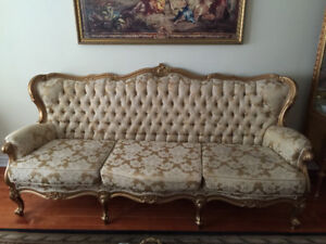 ANTIQUE VICTORIAN SET , SOFA , LOVESEAT , AND PICTURE