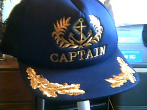 CAPTAINS HAT  Gold  printing NEW One size fits all Adjustable