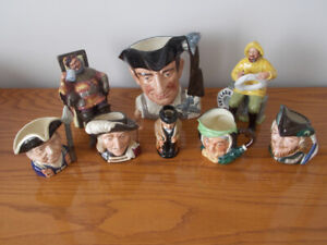 Collection of 8 Royal Doulton Toby Mugs- all Mint