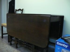 Antique, solid walnut gate-leg table and 4 chairs, as is.
