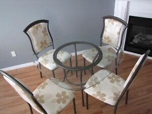 Glass Tabletop and 4 Chairs