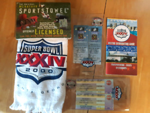 Collectible Super Bowl XXXIV 2000 towel tickets pins guide