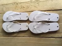 2 pairs of NEW small wedding flipflops