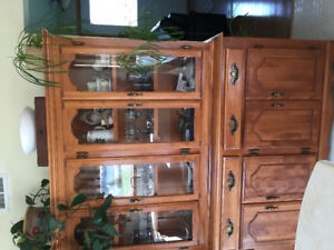 Solid wood dining room table and china cabinet set