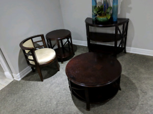 BOMBAY IMMACULATE Solid Wood Coffee / End / Hall Table & Chairs