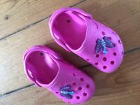 Girls pink crocs