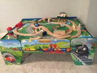 Train table with drawer and tons of trains/tracks!