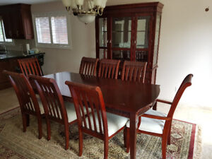 Dining Room Set with Table, 8 Chairs & China Display Cabinet