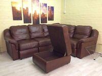 Brown Soft Leather Compact Corner Sofa